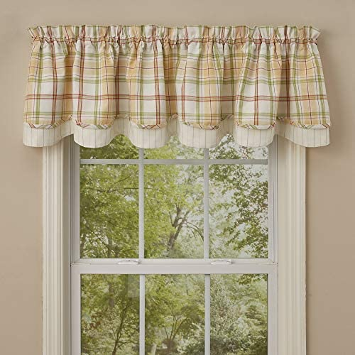 Park Designs Arbor Plaid Lined Layered Valance 72 x 16