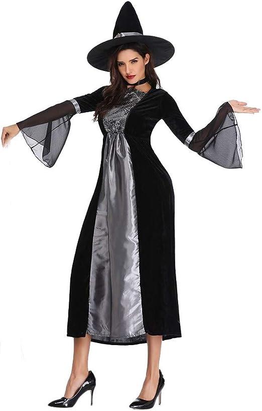 LXJ Disfraz de Bruja de Halloween para Mujer, Disfraz de fantasía Sexy de Maléfica, Disfraz de Bruja y Sombrero, plástico, 01, X-Large: Amazon.es: Hogar