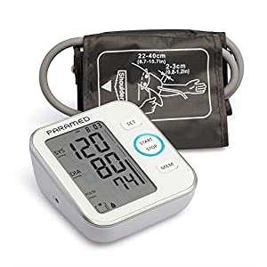 Blood Pressure Monitor by Paramed: Accurate Automatic Upper Arm Bp Machine & Pulse Rate Monitoring Meter with Cuff 22-40cm, 120 Sets Memory, LCD & Talking - Device bag & 4AAA included - Fda Approved