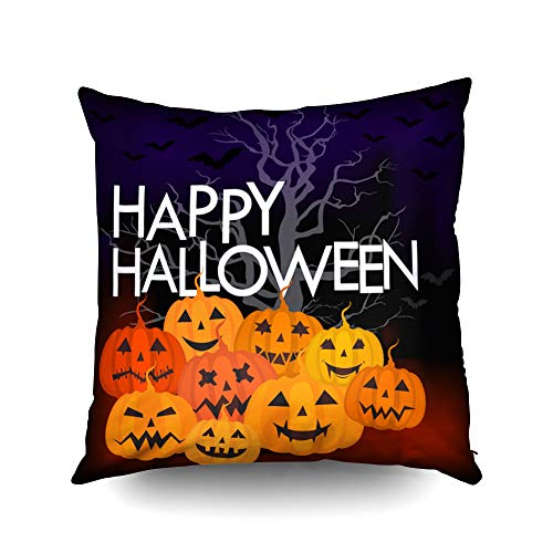 Capsceoll Halloween Happy Halloween Trick or Treat Decorative Throw Pillow Case 16X16Inch,Home Decoration Pillowcase Zippered Pillow Covers Cushion Cover with Words for Book Lover Worm Sofa -
