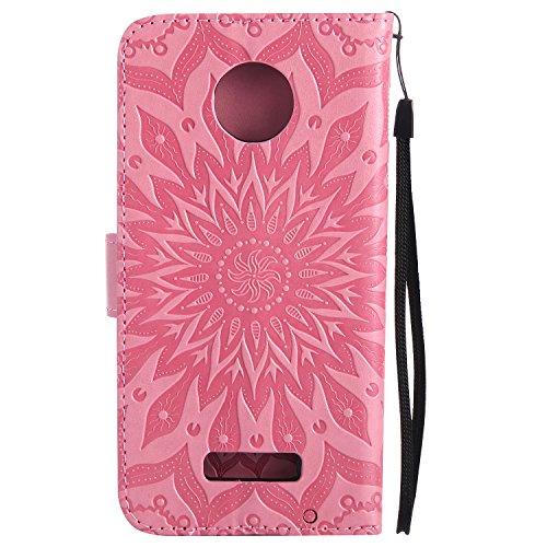 Funda Motorola MOTO Z Force - Alta Calidad Flip PU Cuero Caso Sol Patrón en Relieve /Stent/Billetera/Con el Sostenedor de Tarjeta/Proteccion Caso Cubrir para Motorola MOTO Z Force(Rosa) Rosa