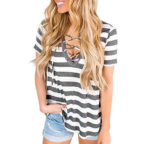 Vendajes manga cuello rayas Blusa Camiseta mangas Adeshop a Pecho O sin C Mujer Flojo Blusa de corta Wq8nnX5F