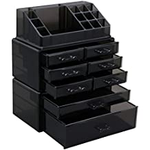 SONGMICS Makeup Organizer 8 Drawers Cosmetic Storage 3 Pieces Set Jewelry Display Case with 16 Top Compartments Black UJMU08B
