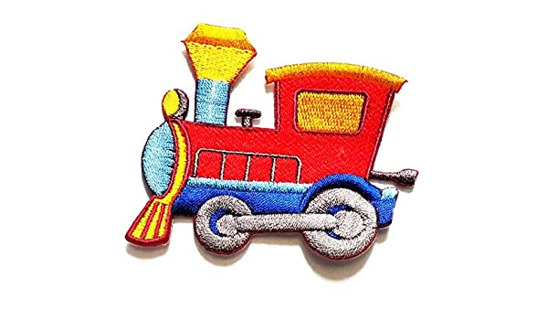 Nipitshop Patches Fantasy Red Train Ancient Railway Travel Vehicles Old Train Cartoon Kids Patch Embroidered Iron On Patch for Clothes Backpacks T-Shirt Jeans Skirt Vests Scarf Hat Bag