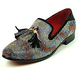 Multi Color Rhinestones with Tassel Men's Loafer