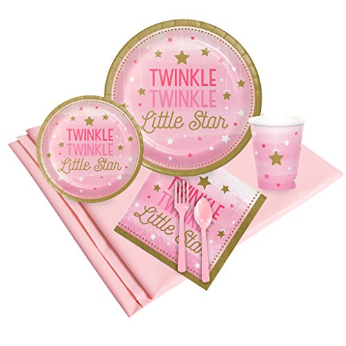 BirthdayExpress Twinkle Twinkle Little Star Pink 16 Guest Party Pack ()