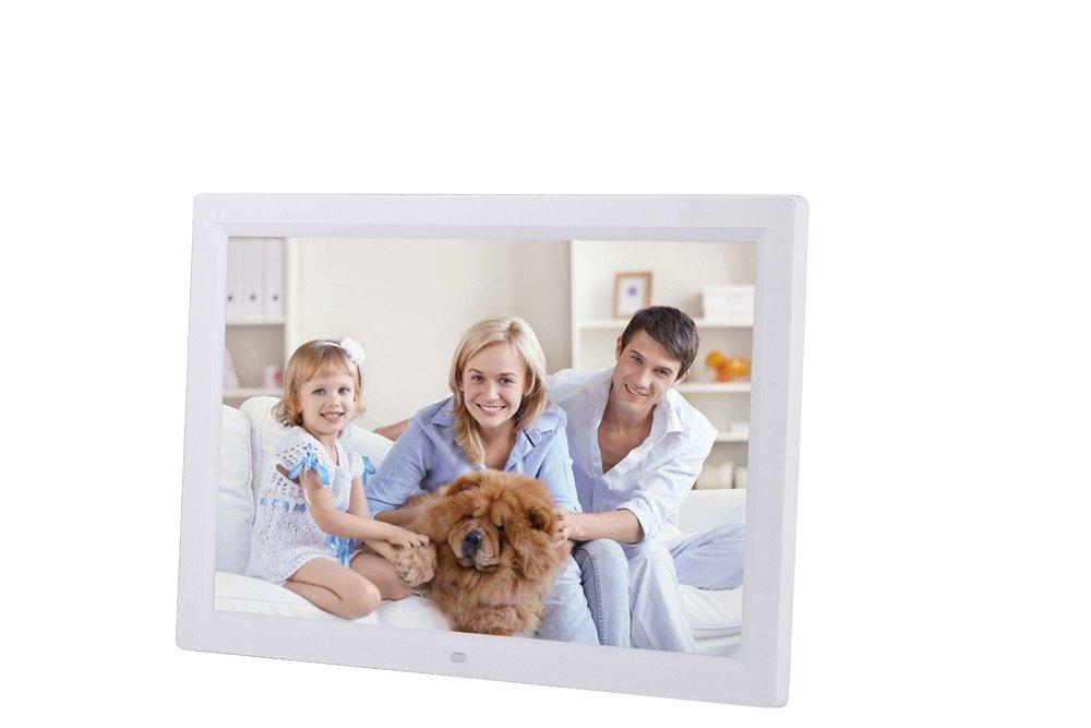Chezaa 17inch HD Ultra-Thin Digital Photo Frame,Human Sensing,Front Screen Button,Creative High-Definition Senso,for Home Bedroom (White)
