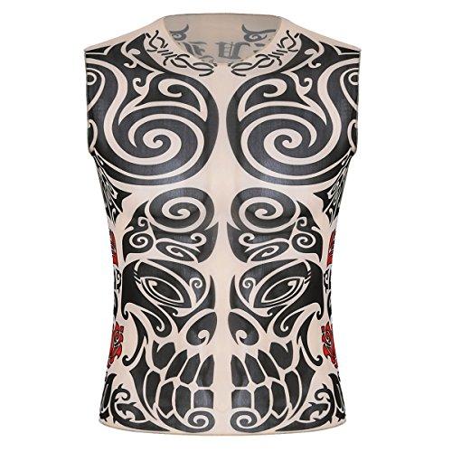 iiniim Men's Fake Tattoo Tribal Inspired Print Elastic Long Sleeve T-Shirt Tops Clubwear Type C Short Sleeve One -