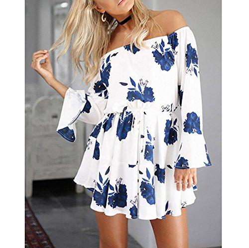 blu da spalla lunghe vestito maniche a estate spiaggia motivo Bianco Vestito Corti yieune floreale abiti XqPB6I