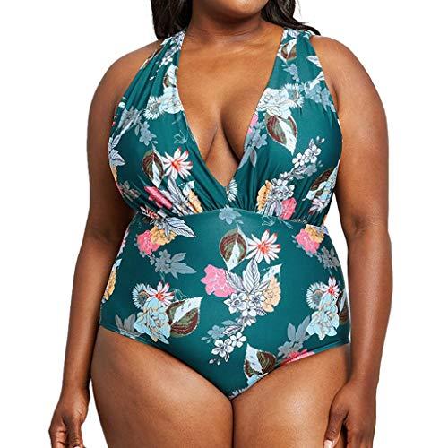 iQKA Women Sexy One Piece Swimsuit Plus Size Swimwear Halter Print Swimsuit Bikini Tankini Beachwear ()