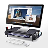 Metal Monitor Riser Stand and Computer Desk Organizer with Drawer, Black, by Simple Trending