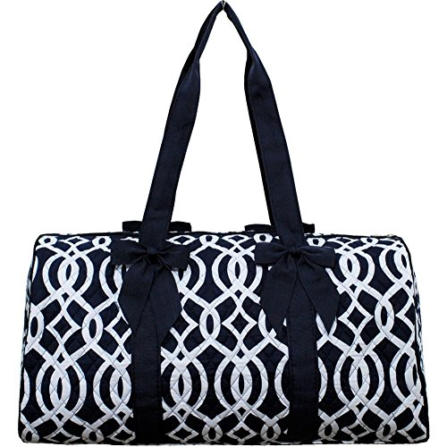 Vine Pattern Print Quilted Overnight Bag (Navy)