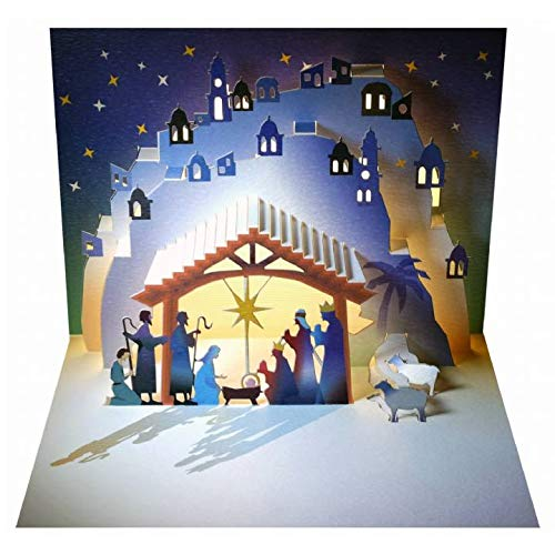Christmas Nativity Scene Card (Spread Holiday Joy with this Lovely Holy Night Nativity Scene | 3D Pop Up Greeting Card | The Perfect Christmas Card | Shadywood Designs | envelope included)