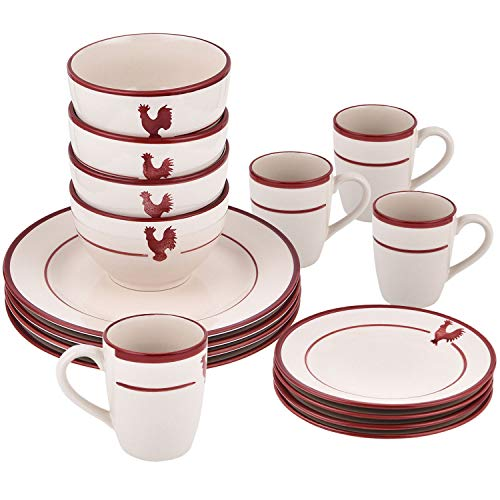 16-Piece Dishes Dinnerware Sets, Red Stripe Round Ceramic Dinnerware Set, Porcelain Dinnerware Sets Including Dinner Plates Dessert Plates Fruit Bowls and Mugs for Everyday Use, Service for 4 ()