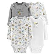 Carter's Baby Unisex 4 Pack Bodysuit Set, Animals Grey/Ivory, 6 Months