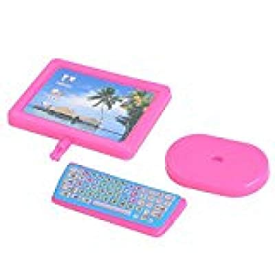DragonPad Dollhouse Miniature Computer Furniture for Barbie Dollhouse Barbie Dream House Pink Modern Computer Furniture Desk Accessory Pink 3PC/Set: Toys & Games