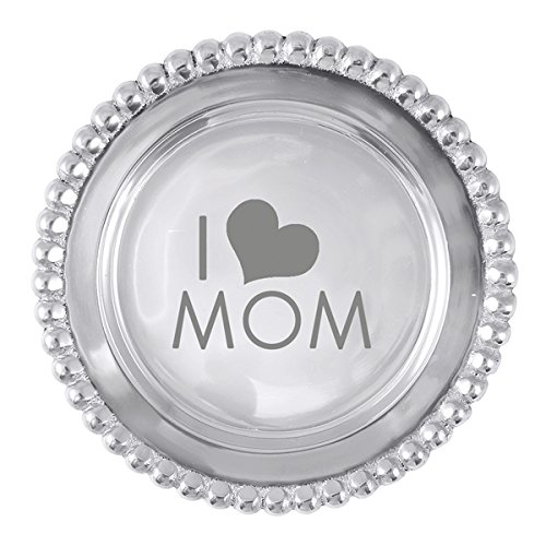Mariposa beaded Wine Plate I Love (Heart) Mom (Mothers day) ()