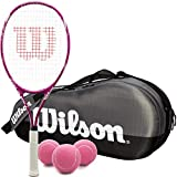 Wilson Triumph Pre-Strung Oversized Tennis Racquet Set or Kit Bundled with a Grey Team 1 Compartment Tennis Bag and a Can of Pink Tennis Balls
