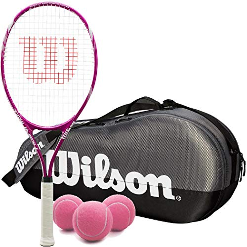 (Wilson Triumph Pre-Strung Oversized Tennis Racquet Set or Kit Bundled with a Grey Team 1 Compartment Tennis Bag and a Can of Pink Tennis Balls)