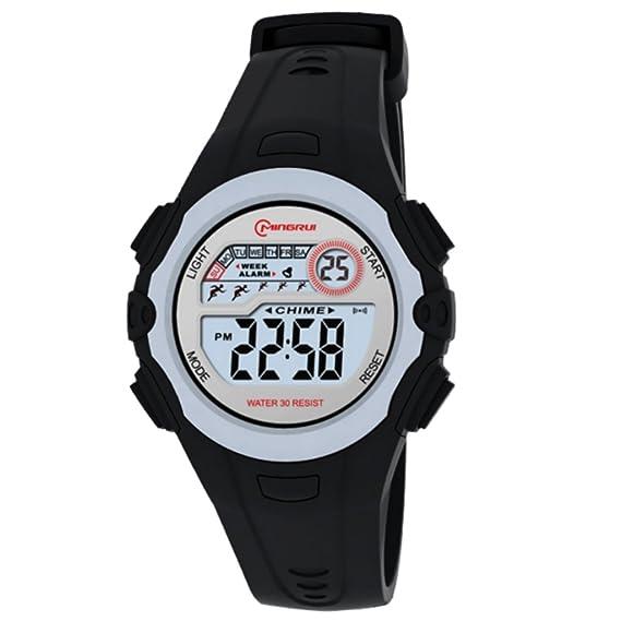 Reloj Concept - Reloj digital Mujer/Niño - Correa Plástico Negro - Esfera Redondo Fondo Gris - Marque Mingrui - mr8550-noir: Amazon.es: Relojes