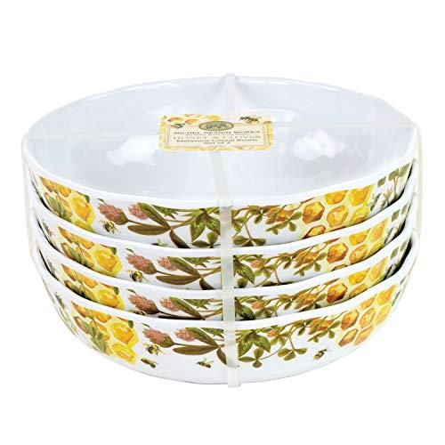 Michel Design Works Melamine Serveware Cereal Bowl Set of 4, Honey & Clover