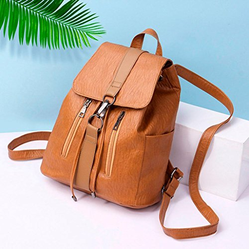 Sale Square Hasp Clearance Zipper Solid Sunday77 Brown PU Classic Leather Casual Satchels Bag Vintage amp; Women Girl Backpack Womens for qBqzr4