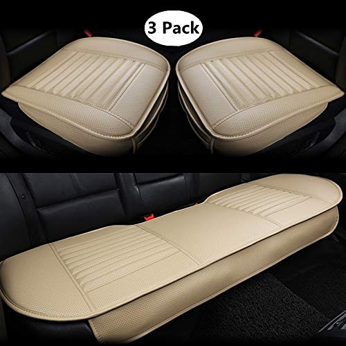 HCMAX Four Seasons Breathable Car Interior Seat Cushion Cover Edge Wrapping Pad Mat for Auto Car Supplies PU Leather Bamboo Charcoal Beige 3 Pack