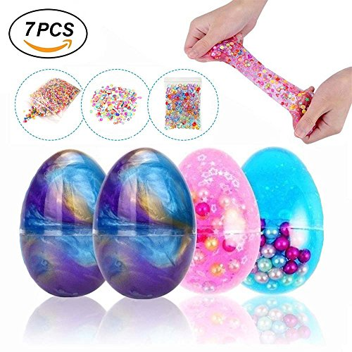 Simuer Egg Slime Kit, Fluffy Slime Crystal Mud Putty Eggs Magic Plasticine Clay Stress Relief Toy with Fruit Slice,Fishbowl beads,Foam Balls,6+3 Pack