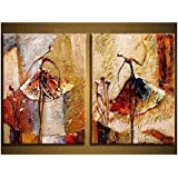 Wieco Art - Ballet Dancers 2 Piece Modern Decorative artwork 100% Hand Painted Contemporary Abstract Oil paintings on Canvas Wall Art Ready to Hang for Home Decoration