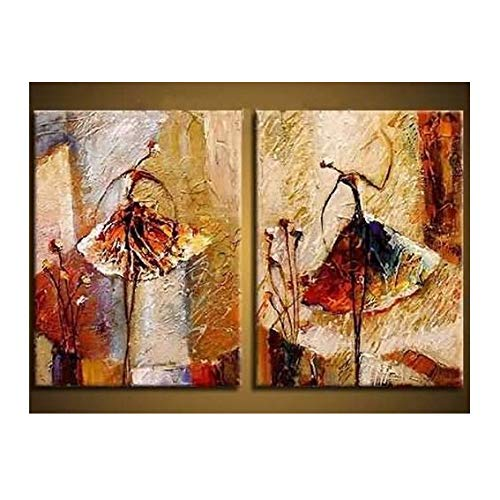 Wieco Art Ballet Dancers 2 Piece Modern Decorative artwork 100% Hand Painted Contemporary Abstract Oil paintings on Canvas Wall Art Ready to Hang for Home Decoration Wall ()
