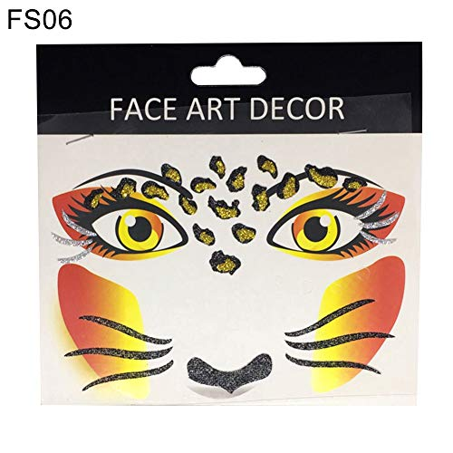Opeof Face Decor Glitter Temporary Tattoo Stickers Halloween Party Stage Makeup -