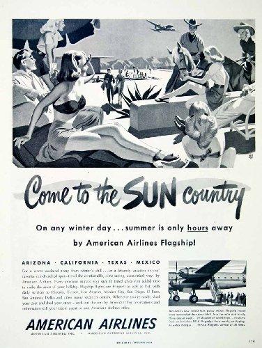 1948 Ad American Airlines Sun Country Arizona California Texas Mexico Airplane   Original Print Ad