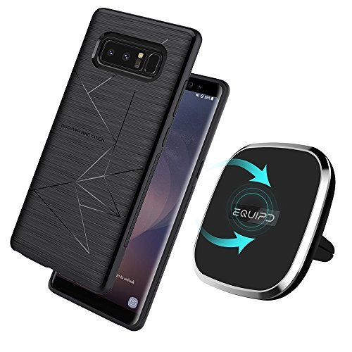Qi Wireless Charger With Samsung Galaxy S8 Magic Case Included-Vent Mounted 2-in-1 Magnetic Charging Pad, 360 Degree Rotation, Strong Magnetic Holder for Vehicle Wireless Charger by EQUIPD