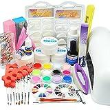 WindMax US Seller! 25 in 1 Combo Set Professional DIY UV Gel Nail Art Kit 9W Lamp Dryer Brush Buffer Tool Nail Tips Glue Acrylic Set