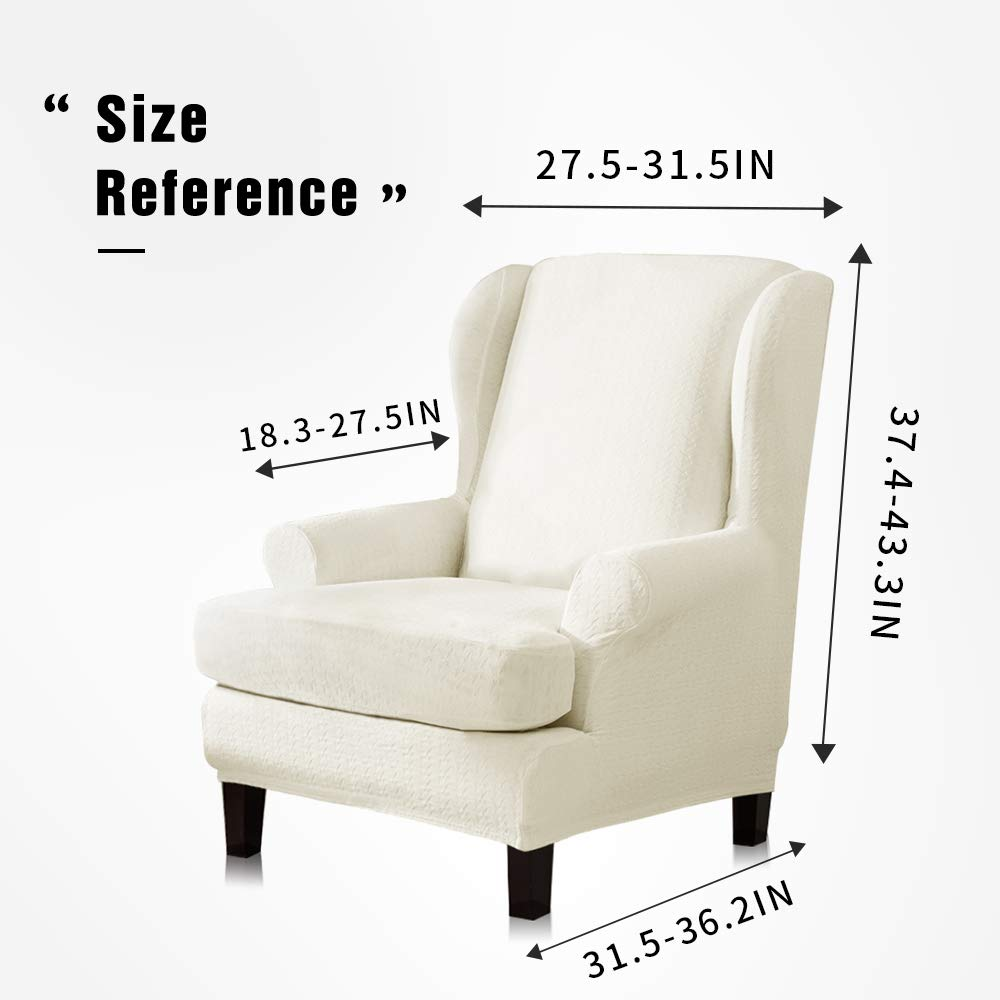 Remarkable Tikami Wing Chair Slipcovers Stretch Wingback Armchair Cover 2 Piece Sofa Furniture Protector With Printing Pattern Off White Andrewgaddart Wooden Chair Designs For Living Room Andrewgaddartcom