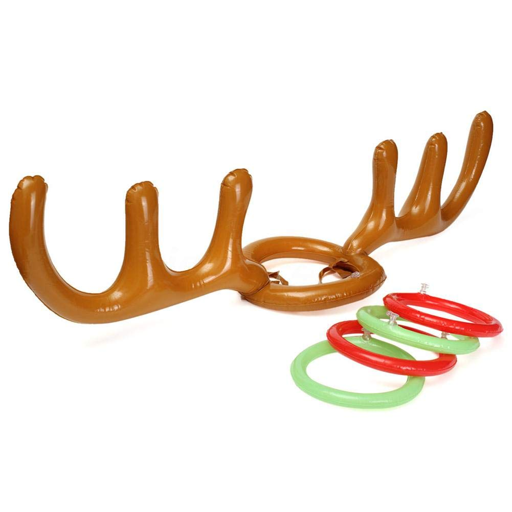 per Sombreros Hinchables de Juego de Lanzamiento de Anillos Forma de Cuerno de Ciervo Juguetes Inflatables Decorativos para Navidad Juguetes Creativos