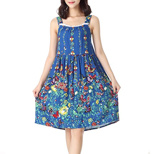 ENJOYNIGHT Women's Cotton Sleeveless Nightgown Chemise Sleep Dress (Small, Blue)