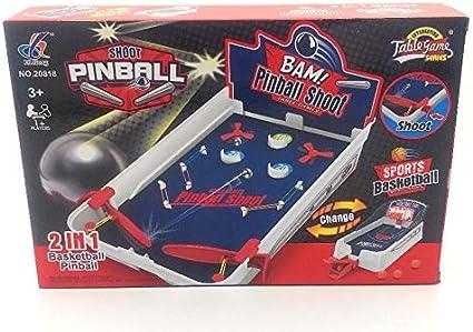 Juego de Mesa 2 en 1, Tablero de Pinball y Juego de Disparos de Baloncesto Deportivo, Juegos de Estilo Retro.