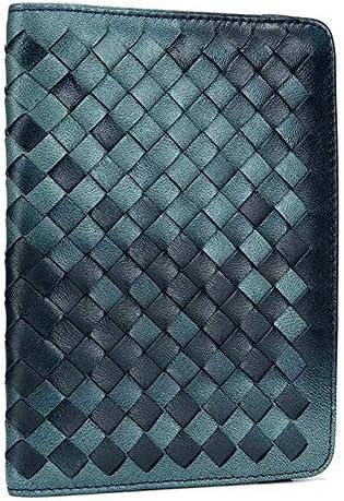男性と女性本物の革の超軽量薄型パスポートホルダー財布シープスキン製織り財布 YZUEYT
