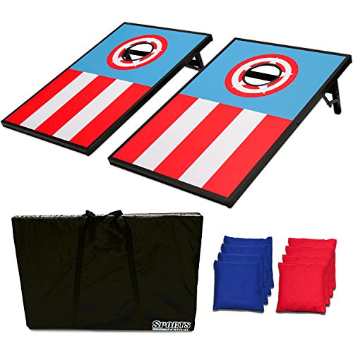 Sports Festival Wood CornHole Board Bean Bag Toss Game Set and Tic Tac Toe 2 Games In 1