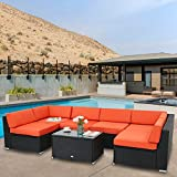 Peach Tree 7Pcs Outdoor Patio PE Rattan Wicker Sofa Sectional Furniture Cushioned Deck Couch Set Inclined Backrest (Orange)