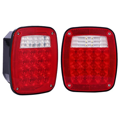 DOT Complied 38 LED Jeep style Universal Tail Brake Turn Stop Licence Back up Lights for Truck Trailer Boat Jeep etc,12V Stud Mounted Lamps,Pack of 2 (96 Dodge Ram Led Tail Lights)