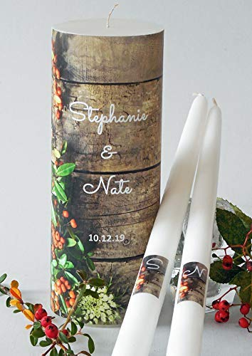 Fall Wood Wedding Unity Candles