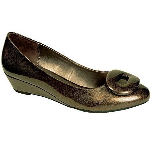 FANTASIA BOUTIQUE ® Ladies Patent Shiny Oval Buckle Front Slip On Women's Low Wedge Heels Shoes Pewter UAQnYrX