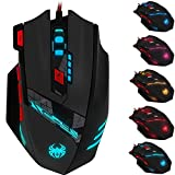 Zelotes 1000/1600/2400/3200/5500/9200 DPI High Precision 8 Button LED Optical USB Wired Gaming Mouse Mice for Pro Gamer with Weight Tuning Set