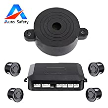 Auto safety Car Reverse Backup Radar System parking sensor kit ,The Round Display + Beeps Voice Alert +4 sensors+4 colors for Universal Auto Vehicle ( new Black)
