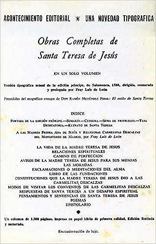 OBRAS COMPLETAS: Amazon.es: SANTA TERESA DE JESUS: Libros