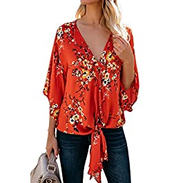 Farktop Womens Floral V Neck Tie Knot Front Blouses Bat Wing Short Sleeve Chiffon Tops Shirts