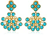 Kenneth Jay Lane Gold and Turquoise Color Cabochon Clip-On Earrings