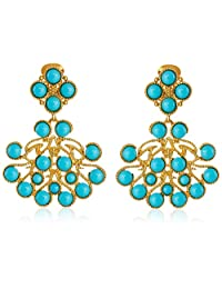 Kenneth Jay Lane Gold Cabochon Clip-On Earrings